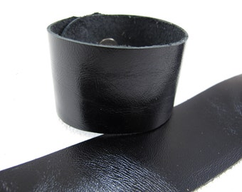 "Metallic Black Leather Cuff Bracelet  1-5/8"" Wide, #"