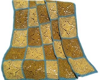 Crochet afghan handmade blanket crochet blanket gold diamonds gold blanket, READY TO SHIP