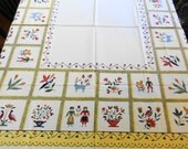New Old StockVintage PENNSYLVANIA DUTCH TABLECLOTH Amish Decor Yellow Fiesta Colors Farmhouse Decor Printed Textiles Vintage Table Linens