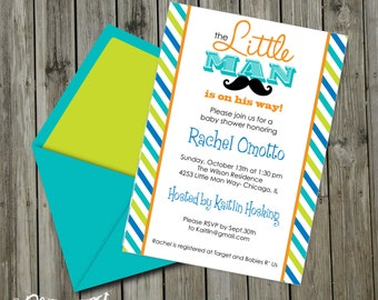 SALE!! INSTANT DOWNLOAD, Babyshower, Little Man Mustache Bash Printable 5 x 7 Invitation, You Edit Yourself in Adobe Reader