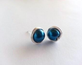 Blue Pearl Stud Earrings, Pearl Earrings Wedding, Pearl Earrings Bridesmaid, Pearl Earrings Handmade, Pearl Earrings Stud, Earrings UK