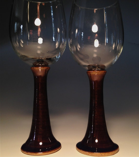 Wine Glass Pottery Handmade Goblet Set Two Christmas Unique