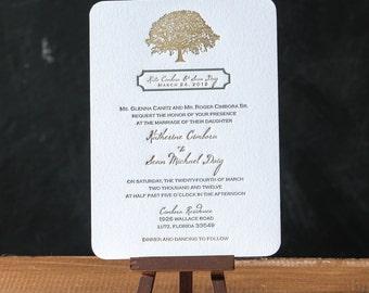 Tree Letterpress Invitation Suite DEPOSIT