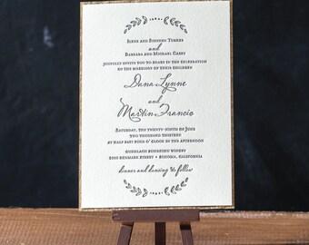 Fauna Letterpress Wedding Invitation - DEPOSIT