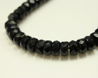 Bead, Czech fire-polished glass, jet black, 8x4mm faceted rondelle - 16 inch strand, Czech Glass Bead