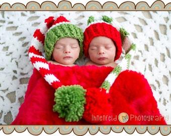 Twin Newborn Crochet Christmas Stocking Hats