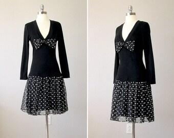 Vintage 1980s Dress , Party Dress, Black Party Dress, Polka Dot Dress, 80s Mini Dress, 80s Dress, Little Black Dress Party, Small