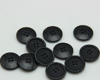 10 pcs 0.59~1.18 inch Matte Black Imitation Horn Resin Shell Buttons for Coats Suits