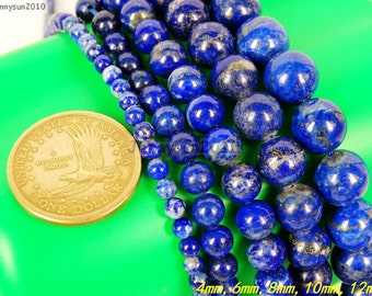 100% Natural Lapis Lazuli Gemstone Round Beads 15.5'' 4mm 6mm 8mm 10mm 12mm Deep Royal Blue With White And GOLDEN INCLUSIONS No Treatment