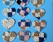 Reserved for Maria 20 Heart shapes from Antique Cutter Quilt Die cut out applique ornament Shabby blue red brown