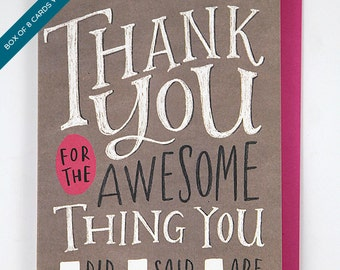 Box Set of 8 Cards Thank You For The Awesome Thing You Did/Said/Are by Emily McDowell