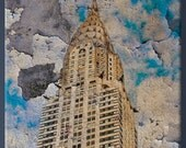 Chrysler Building New York Canvas grunge effect printing. Large size 35x40 inches
