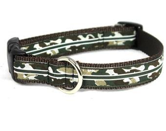 "1"" Adjustable Dog Collar, Buckle Collar, Camo"