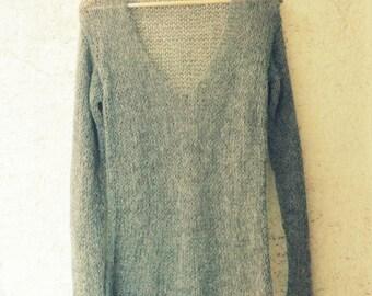 Dark Gray Sweater, V Neck Sweater,  Grunge Sweater, Grey Knit Top, Hippie Chic, Bohemian Style, Casual Sweater, Soft Sweater, Grey Sweater