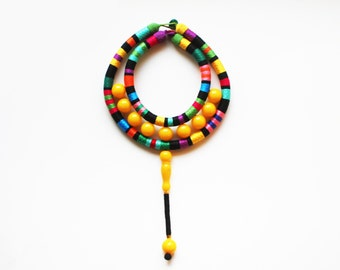 BONGANI - African Inspired Necklace Fashion Statement Multicolor Necklace Chunky Rope Necklace Prayers Bead Necklace Chunky Large  Necklace