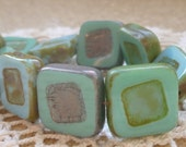14mm Turquoise Square Carved Czech Glass Beads (5) - 0898/SQU