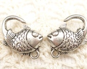 Extra Large Silver Tone Fish Lobster Clasp Findings (4) - SF75