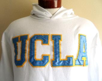 Go UCLA Bruins vintage 90's  University of California Los Angeles graphic hoodie sweatshirt men women white fleece pullover embroidered logo