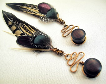 Dangle Plugs - Feather Gauges - Wood Plugs and Tunnels - Ear Plugs - 00 Gauge Plugs - 9/16 Plugs - 5/8 Plugs - 1/2 Inch Plugs - 0 Plugs - 2g