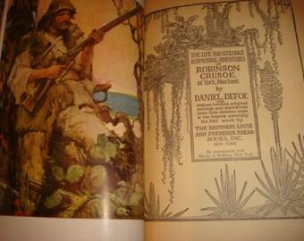 1925 Robinson Crusoe Of York Mariner Defoe Colored Louis Rhead Illustrations life and strange Adventures