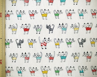 CATS PRINT on WHITE Background Japanese Fabric - 110cm x 50cm