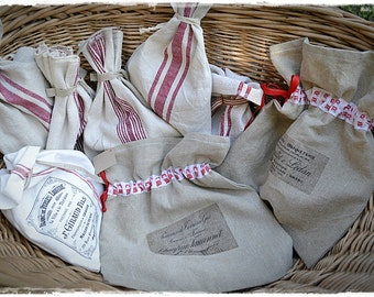 Bag antique linen with ribbon
