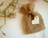 Wedding  Burlap Favor Bags,Rustic favor bags with  lace,Rustic eco friendly bags