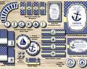 Nautical Birthday Party Package, Anchor Party Pack, Sailor Package, Sailboat - 1st Birthday Party PRINTABLE 2 Designs, Girl Boy, turning ONE