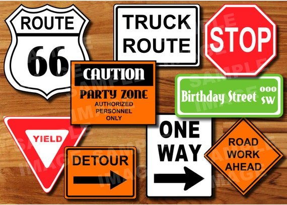 transportation construction printable road signs plane train