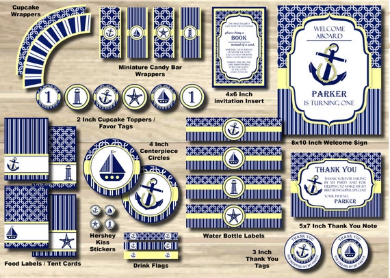 Nautical Birthday Party Package Anchor Party Pack Sailor Package