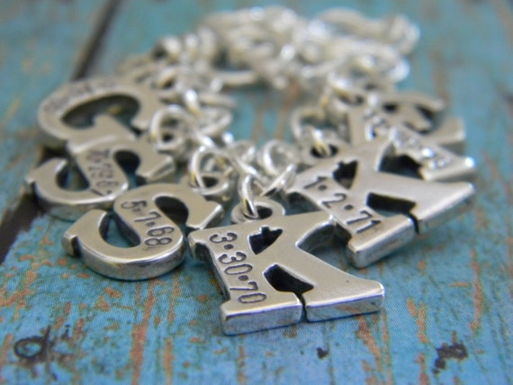 Personalized Mother Bracelet, Sterling Silver Custom Made 8 Children Letter Initial Date Hand Stamped Toggle Charm Nana Grandma Bracelet