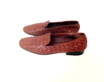 REDUCED~ Woven Leather Flats 7 - Brown Leather Loafers 7 - Minimal Flats 7 - Leather Moccasins 7 - Brown Leather Flats 7