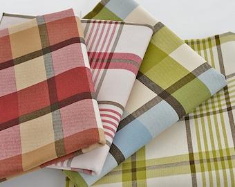 Scottish Plaid Canvas Cotton Fabric, Green Red Tartan Plaid Fabric, Sofa Cushion Chair Bag Fabric - 1/2 yard