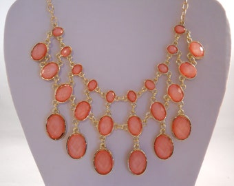 2 Row Peach Color Bib Necklace on a Gold Tone Chain