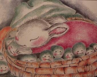 Baby bunny sleeping among carrots and peas greeting card, Heavenly Peas bunny illustration