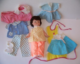 Vintage Doll with Doll Clothes. Doll Wardrobe. Vintage Doll Clothes. Baby Doll Clothes. Baby Doll Dress. Doll Pajamas. Baby Doll Accessories
