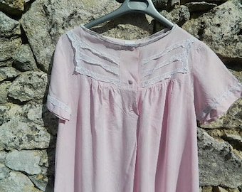 1950 cotton nightgown French manufacturing
