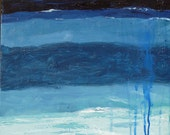 """SALE! Original expressionist abstract Seascape acrylic painting """"Gazing"""", 18"""" x 24"""" on canvas.  Wall Art. Oregon Art"""