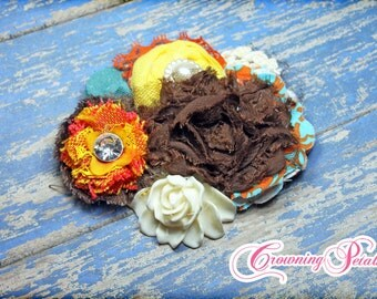 Orange, Brown, Turquoise Headband, Fabric Flower Hair Clip, Yellow, Fabric Flower HairBow, Baby Hair Accessories, Toddler
