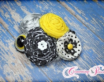 Yellow, Black, Grey Headband, Baby Girl Hair Bow, Infant, Toddler, Hair Accessories, Gray Fabric Flowers, Rolled Rosette Headband, Hair Clip