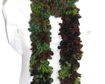 Loopy Scarf, Green, Brown