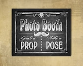 Printed PHOTO BOOTH Wedding sign - chalkboard signage - 3 sizes available with optional add ons