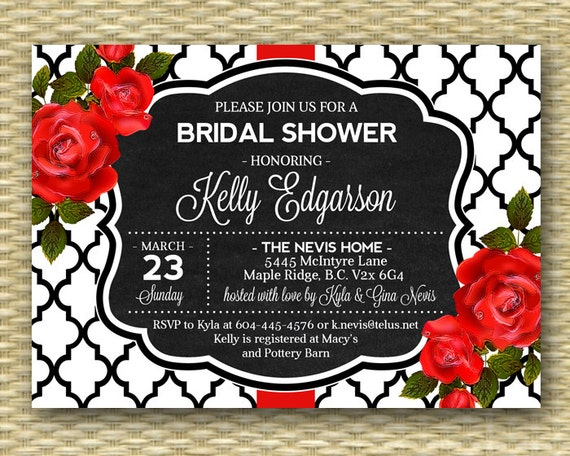 Bridal shower invitation red roses red black white chalkboard bridal il570xn filmwisefo
