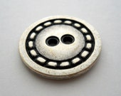 """Antique-finish pewter-color metal button with """"stitch"""" detail, large size"""