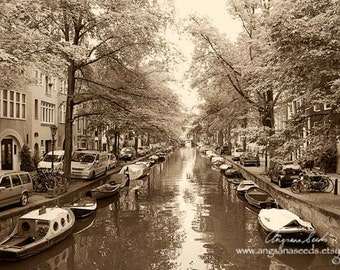 Amsterdam Canal photograph Amsterdam wall art Amsterdam travel photo houseboats Netherlands Architecture Wall decor gift under 50