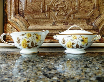Noritake M China 5243 Nolan Cream and Sugar Bowl with Lid Yellow Roses Floral