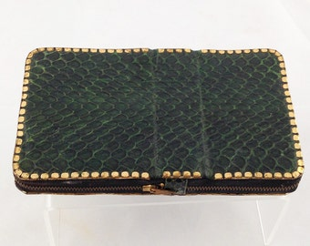 Vintage Compact Vanity, Snakeskin, Green, 1940s, Leather lined, 2 Sections, Unused