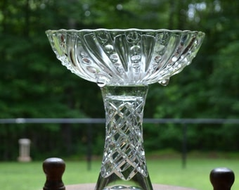 Glass Cake Stand Clear Glass Compote Cupcake Stand Cake Plate Food Display Wedding Upcycle Recycle Littlestsister