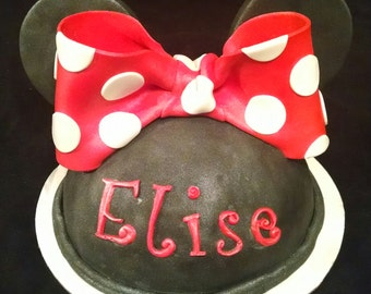 Edible MINNIE MOUSE Bow, Hat, Ears/gum paste/fondant ribbon / cake decoration or cake topper / Disney Inspired