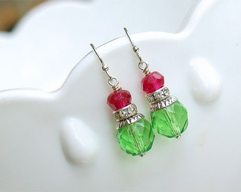 SALE Fuschia and Green Earrings - Ruby Peridot Glass Earrings - Bead Earrings - Fuschia Ruby Apple Green Bridesmaid Earrings